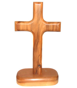 Vintage Handmade Carved Wooden Cross Sculpture