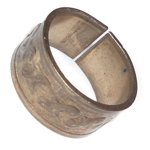 Solid Brass Wide Vintage Ring with Repeating Stamped Design - Adjustable