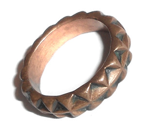 Spiked Pattern Vintage Copper Ring with Nice Dark Patina - Size 5