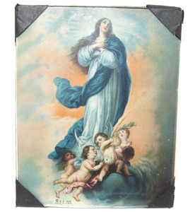 1935 Mary & Angels Cherubs in Clouds Print in Glass Picture Frame