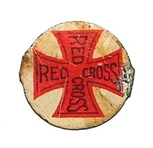 Old Red Cross Tin Tobacco Tag
