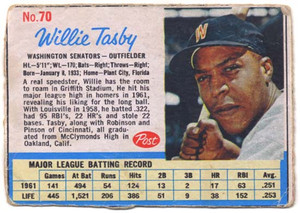 1962 No. 70 Willie Tasby - Post Cereal Baseball Card