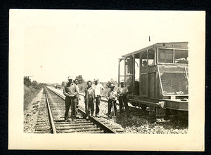 1949 Snapshot Photograph of Railroad Workers & Train Engine