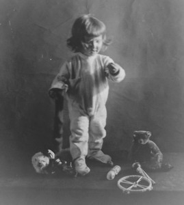 Antique Glass Negative Photograph Little Girl with Christmas Stocking & Toys