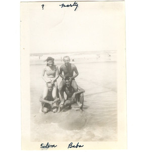 Soldier & Girl on Beach Sitting on Men's Shoulders - 1940's Gay Interest Photo