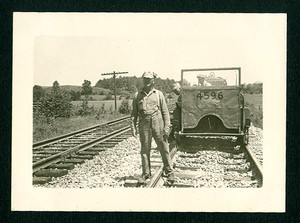 1949 Railroad Car Train & Workers on Tracks Snapshot Photo