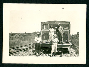 1949 Snapshot Photograph of Railroad Workers & Wives on Train