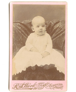 1891 Cabinet Photo of Lamar Matthews Baby in Christening Dress - Andover, OH