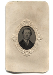 Antique 1/16 Plate Tintype Photograph of Victorian Man with Mutton Chop Sideburns in Matte