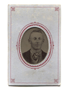 Antique 1/16 Plate Tintype Photograph of Victorian Man with Plaid Necktie