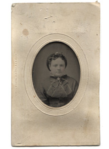 Antique 1/16 Plate Tintype Photograph of Well Dressed Young Victorian Woman with Rosey Cheeks