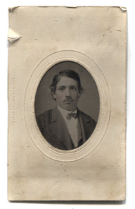 Antique 1/16 Plate Tintype Photograph of Young Victorian Man with Rosey Cheeks