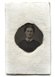 Antique 1/16 Plate Tintype Photograph of Young Victorian Woman with Rosey Tinted Cheeks
