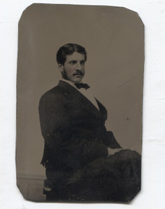 Antique 1/6 Plate Tintype Photo Man w/ Tinted Cheeks Mutton Chops & Mustache in Suit