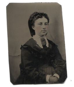 Antique 1/6 Plate Tintype Photo Young Woman w/ Tinted Cheeks & Clasped Hands