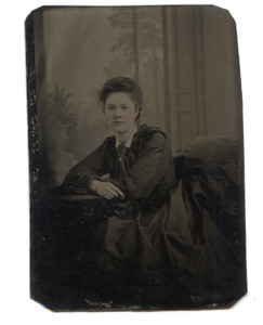 Antique 1/6 Plate Tintype Photo Young Woman w/ Tinted Cheeks Studio Portrait