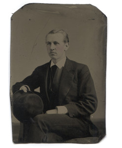 Antique 1/6 Plate Tintype Photograph Man Holding Hat w/ Tinted Cheeks