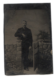 Antique 1/6 Plate Tintype Photograph of Man Faux Rock Wall & Garden Gate