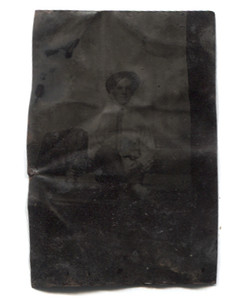 Antique 1/6 Plate Tintype Photograph of Man in Striped Dress Shirt & Hat