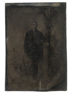 Antique 1/6 Plate Tintype Photograph of Man Leaning on Tall Stump