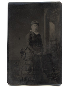 Antique 1/6 Plate Tintype Photograph of Woman in Frilly Mourning Dress
