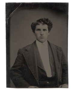 Antique 1/6 Plate Tintype Photograph of Young Victorian Man w/ Rosey Cheeks