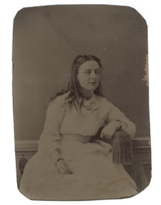 Antique 1/6 Plate Tintype Photograph of Young Victorian Woman in Casual Dress