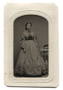 Antique 1/6th Plate Tintype Photograph of Rosey Cheeked Victorian Woman in Matte