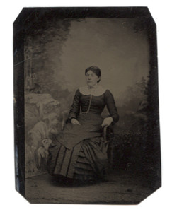 Antique 1/6th Plate Tintype Photograph of Seated Victorian Woman in Mourning Dress