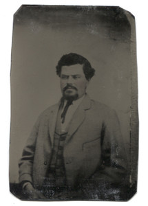 Antique 1/6th Plate Tintype Photograph of Victorian Man in Suit with Rosey Cheeks