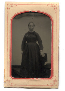 Antique 1/6th Plate Tintype Photograph of Victorian Woman Standing in Studio