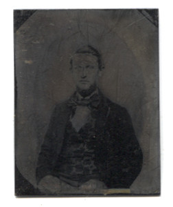 Antique 1/9 Plate Tintype Photograph of Victorian Man with Large Bow Tie