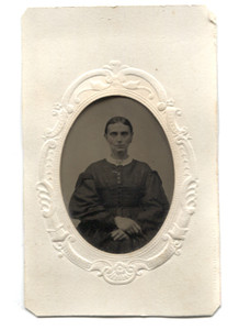 Antique 1/9th Plate Tintype Photograph of Gaunt Victorian Woman with Rosey Cheeks