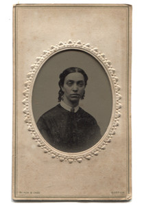 Antique 1/9th Plate Tintype Photograph of Woman with Rosey Cheeks - Black & Case, Boston
