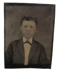Antique 1/16th Plate Tintype Photograph of Young Victorian Boy in Suit