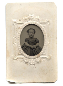Antique 1/16 Plate Tintype Photograph of Cute Pudgy Victorian Girl in Embossed Paper Matte