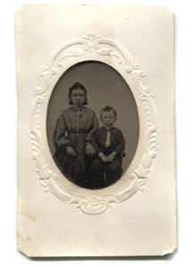 Antique 1/16th Plate Tintype Photograph of Young Victorian Brother & Sister in Matte