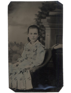 Antique 1/6 Plate Tintype Photo Young Girl w/ Tinted Cheeks & Blue Dress
