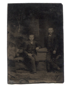 Antique 1/6 Plate Tintype Photograph of Two Boys in Faux Forest Scene