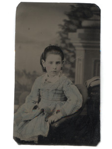 Antique 1/6 Plate Tintype Photograph of Young Girl w/ Tinted Cheeks & Dress