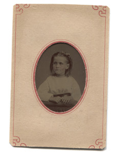 Antique Tintype Photo of Little Girl w/ Tinted Cheeks in Paper Matte