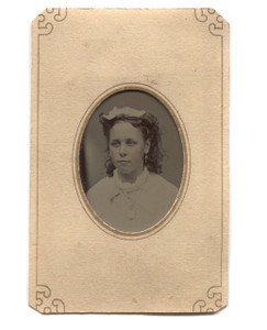 Antique Tintype Photo of Teen Girl w/ Tinted Cheeks in Paper Matte