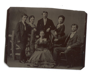 Antique 1/6 Plate Tintype Group Photo of Six People w/ Log Fence