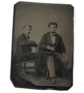Antique 1/6 Plate Tintype Photo Two Men Seated in Chairs in Studio Portrait