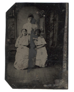 Antique 1/6 Plate Tintype Photograph Heavily Touched Up Photo of Three Women