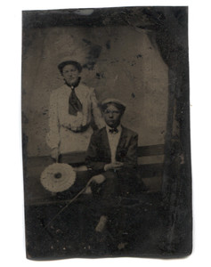 Antique 1/6 Plate Tintype Photograph of Couple in Studio on Bench