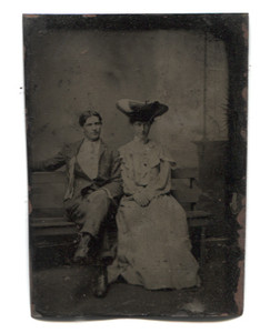 Antique 1/6 Plate Tintype Photograph of Couple Sitting on Bench w/ Large Hat
