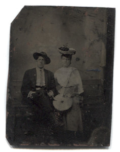 Antique 1/6 Plate Tintype Photograph of Man & Woman with Fancy Basket Hat