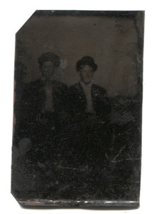 Antique 1/6 Plate Tintype Photograph of Two Blurry Men Together in Studio Portrait