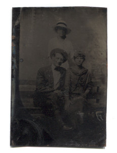 Antique 1/6 Plate Tintype Photograph of Two Women & One Man on Bench